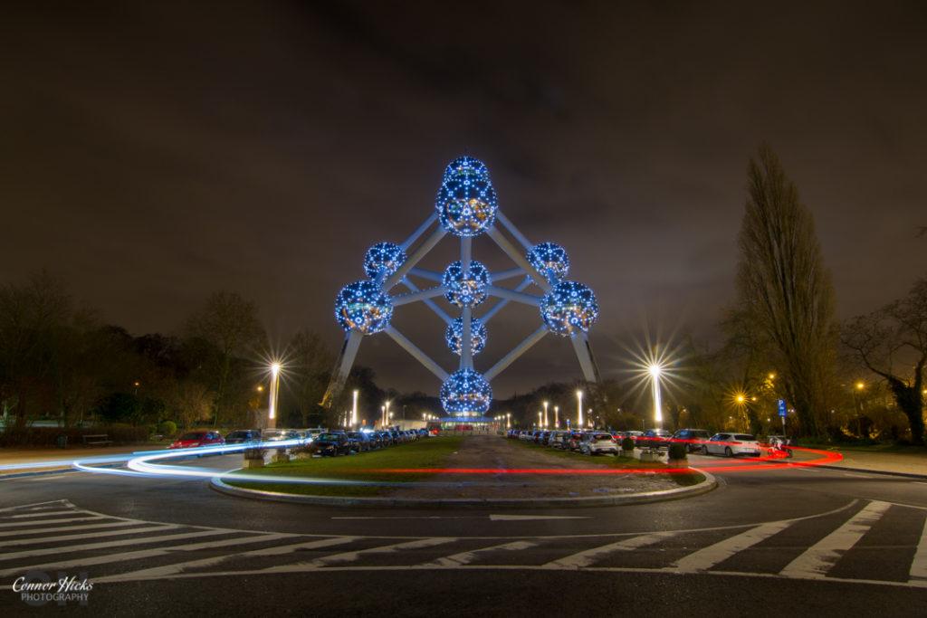 Brussels Atonium At Night